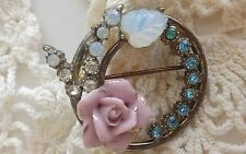Vintage , Precious, old  Antique looking , Sweater Brooch with ceramic Rose!