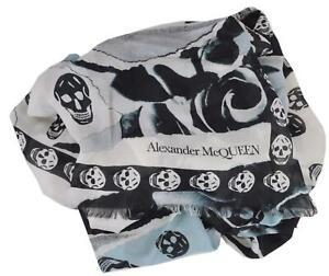 nwt alexander mcqueen scarf pink with black skulls   HipSwap