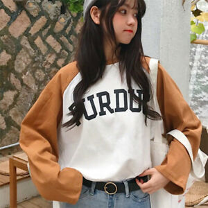 Women-Korean-Harajuku-Shirt-Letter-Print-Loose-Slim-Casual-Tshirt-Tops-Blouse