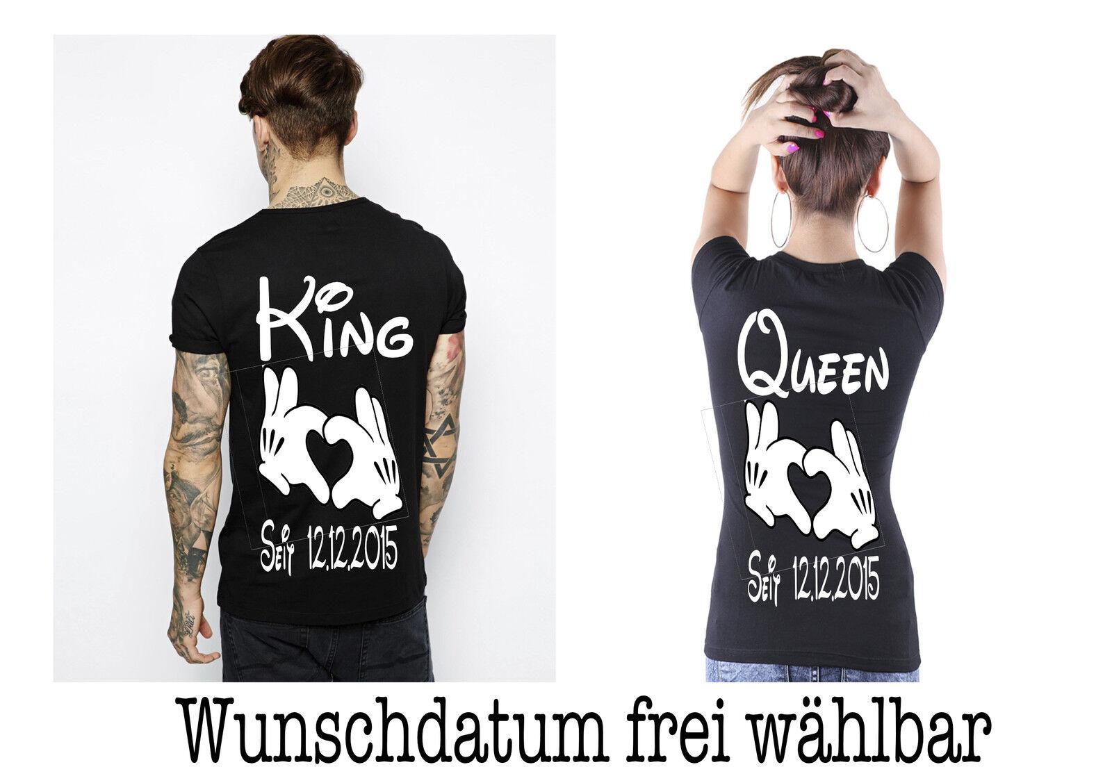 T Shirt King Queen Motiv Partner Look Hochzeitsgeschenk Shirts 2Stk XS - 5XL New