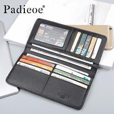 Padieoe Genuine Leather Men Wallet Long Wallet Fashion Business Slim Card Holder
