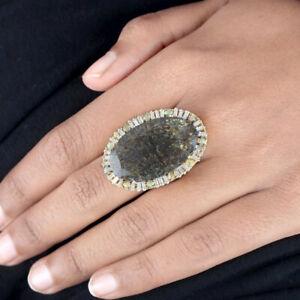 20-8Ct-Rutile-Quartz-Cocktail-Ring-925-Sterling-Silver-Pave-Diamond-Fine-New