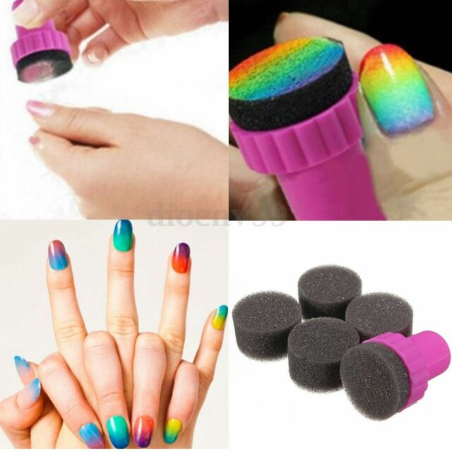 1 Set Nail Art Stencil Sponge Stamp Stamper Shade Transfer Template Polish Tool