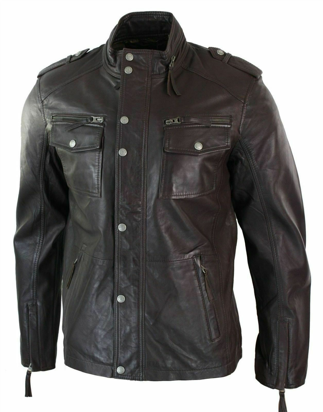 Mens Leather Jacket Fitted Bomber Pilot Flying Style Bl