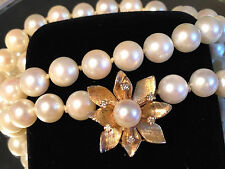 BIG 3D clasp saltwater  PEARL DIAMONDS 14k Gold necklace