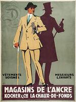 Repro Affiche Magasins Ancre Kocher Chaux De Fonds Sur Papier 310 Ou 190 Grs