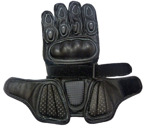 Kids Childrens Sport Minimoto Motorcycle  Racing Leather G-304 Glove Black T