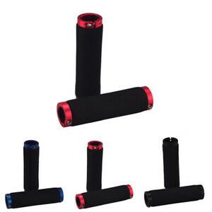 Tube-Lock-on-Bicycle-Clamps-Handlebar-1-Foam-Single-Mtb-Grips-Bike-Locking-Pair