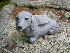 Image Is Loading Dachshund Statue Concrete Garden Statue  Doxie Dachshund Angel
