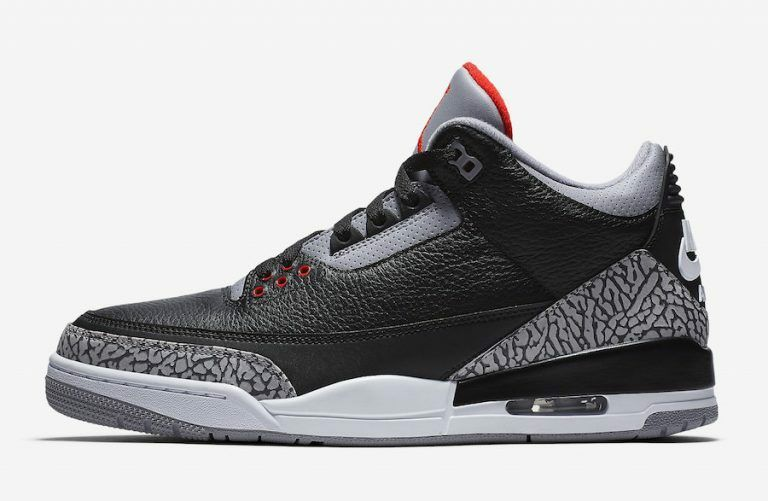 Nike Air Jordan Retro 3 III OG Black Cement White Black Fire Red Grey Size 4-13