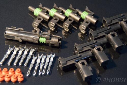1 pin IMPERMEABILE 1,5mm² AUTO GPL prese Guarnizione in silicone 5 Paia Spina