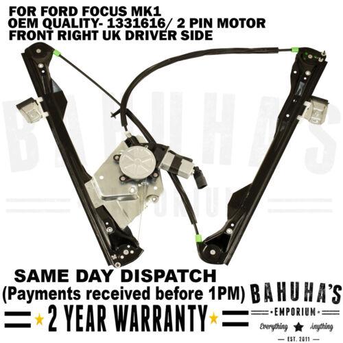 2//3 Portes-pour Ford Focus MK1 Avant Côté Droit Lève Vitre /& 2 broches à moteur