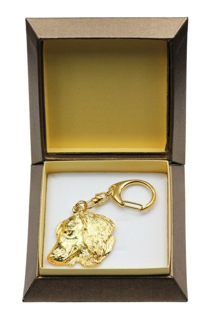Dachshund  gold covered keyring with dog, box, high quality, Art Dog