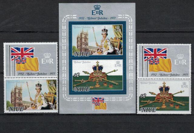 Br CW: Niue1977:#194-195a- 25th Anniv CoronationQEII NH;Royalty,VFlags-Lot#8/8