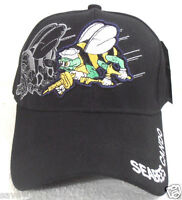 Military Cap Navy Seabees Black With Shadow