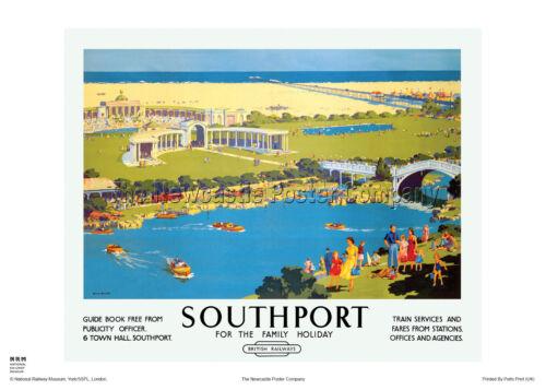 SOUTHPORT LANCASHIRE  RAILWAY TRAVEL POSTER VINTAGE RETRO ADVERTISING ART