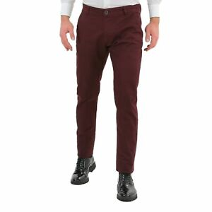 Pantaloni-Uomo-Slim-Fit-Eleganti-Invernali-Bordeaux-Classico-Chino-Kaki-Tasca-Am