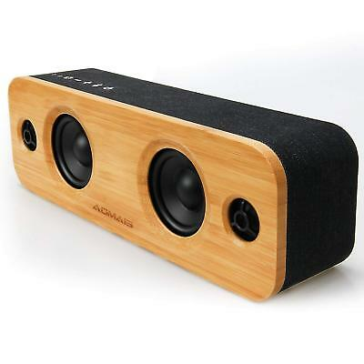 AOMAIS Life 30W Bluetooth Speakers Loud Bamboo Wood Home Audio Wireless Speaker