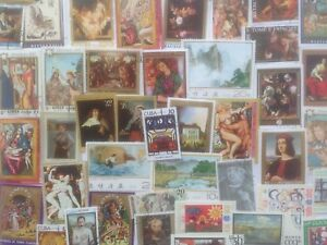 500-Different-Paintings-Art-on-Stamps-Collection