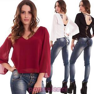 Maglia-donna-velata-scollo-V-maglietta-schiena-nuda-lacci-sexy-nuova-CJ-2321