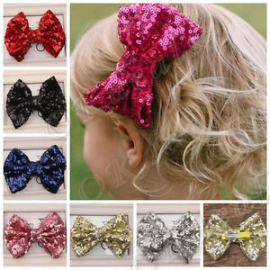 Baby-Girl-Kids-Infant-Sequin-Bowknot-Bow-Hair-Clip-Hair-Bow-Clips-Hair-Pins-New