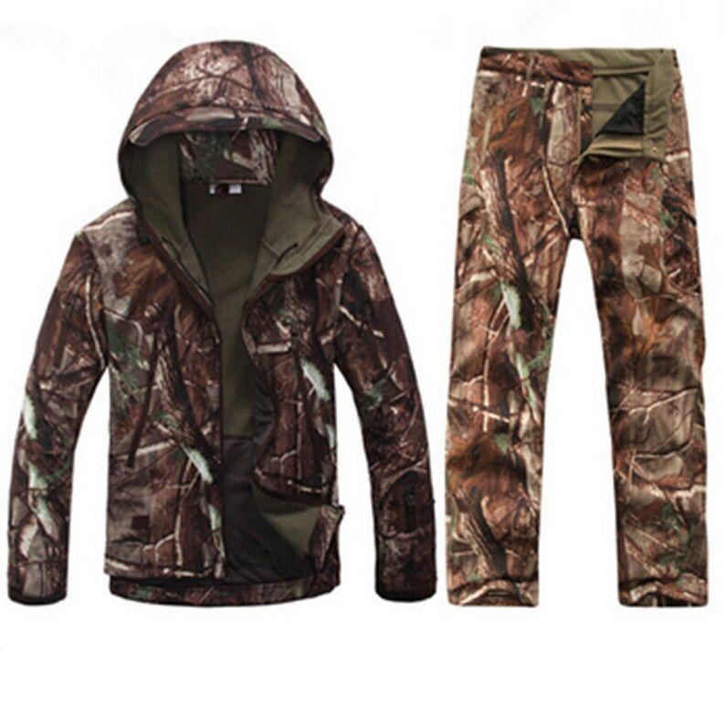 Új férfi vadászat álcázó ruházat Vízálló szélálló kapucnis kabát &Nadrágok