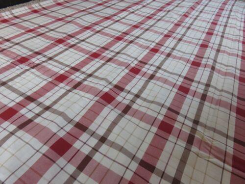 Cream wine brown check tartan crafts sewing remnant fabric piece 110x220cm