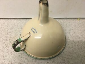 True-Vintage-Kockums-Sweden-Cream-amp-Green-Enamel-Funnel