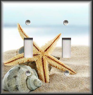 Metal Light Switch Plate Cover - Beach Home Decor Starfish Conch Shells Decor