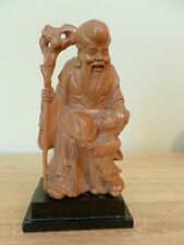CHINESE CAMPHOR WOOD HAND CARVED CONFUCIUS STATUE. VG Condition.