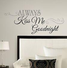 New ALWAYS KISS ME GOODNIGHT Big Peel & Stick Wall Decals Bedroom Stickers Decor