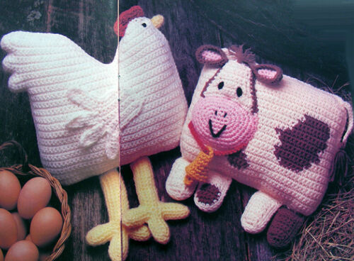 Crochet Pattern Only ~ 2 Farmyard Animal Pillows ~ Cow /& Hen ~ Country Home