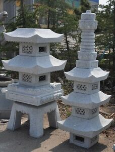Image Is Loading 10 039 Pagoda Japanese Carved Granite Garden Lantern