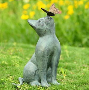 Cat aluminum bronze lawn porch yard home garden outdoor for Cat yard art