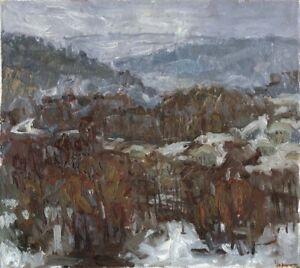Russischer-Realist-Expressionist-Ol-Leinwand-034-Winter-034-45-x-40-cm