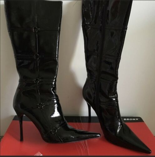 Bronx Stiletto Patent Leather Boots