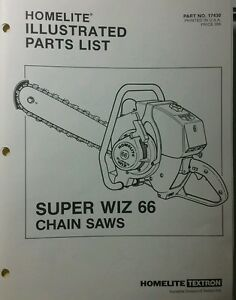 Image Is Loading Homelite Super Wiz 66 Chain Saw Parts Manual