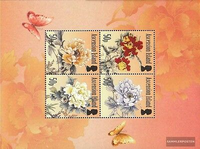 Africa Ascension Block68 Mint Never Hinged Mnh 2011 Pfingstrosen Diversified In Packaging Nature & Plants