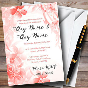 coral watercolour floral personalised wedding invitations ebay