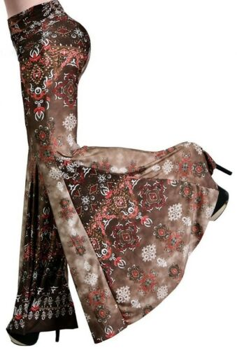 HOT J UP FOLD OVER HIGH WAIST BROWN FLORAL BELL FLARE LEG PALAZZO PANTS S M L