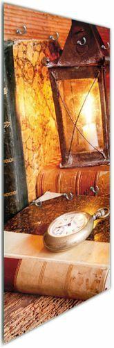 Wallario Glas Garderobe 50 x 125 cm, Motiv  Antike Laterne Kerze  alten Büchern