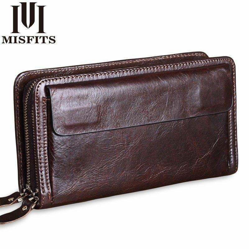 Men Clutch Wallets Genuine Leather Business Large Capacity Wallet Double Zipper