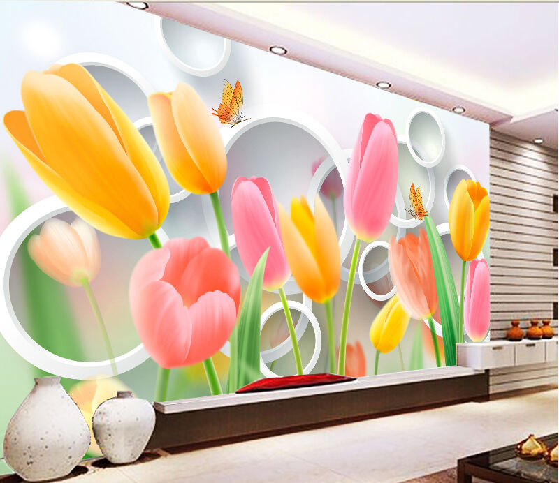 3D Farbeful Tulip Flowers 39 Paper Wall Print Wall Decal Wall Deco Indoor Murals