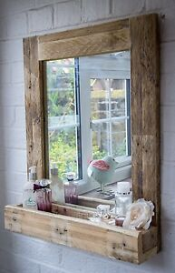 Rustic Bathroom Mirror With Shelf Made From Reclaimed Pallet Wood
