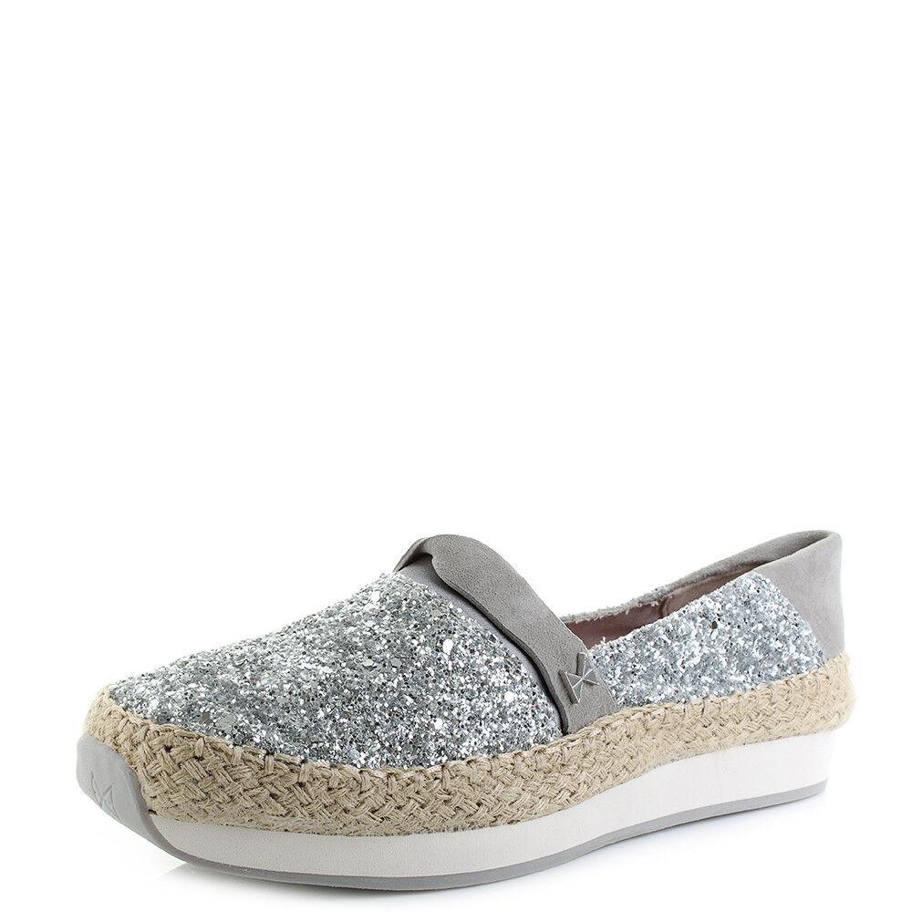 Damenschuhe Butterfly Twists Maya Silver Glitter Flat Espadrilles Schuhes Größe