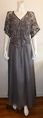 JACK BRYAN Vintage Gray Two Piece Beaded Overlay and Belted Dress Size 14
