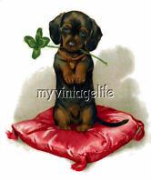 Dachshund Daschund Dog Weiner Clover Quilting Fabric Block 5x7