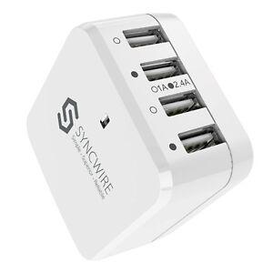 Ennotek Wordwide 4 Ports USB Wall Charger UK US EU Travel Adaptor for Phone
