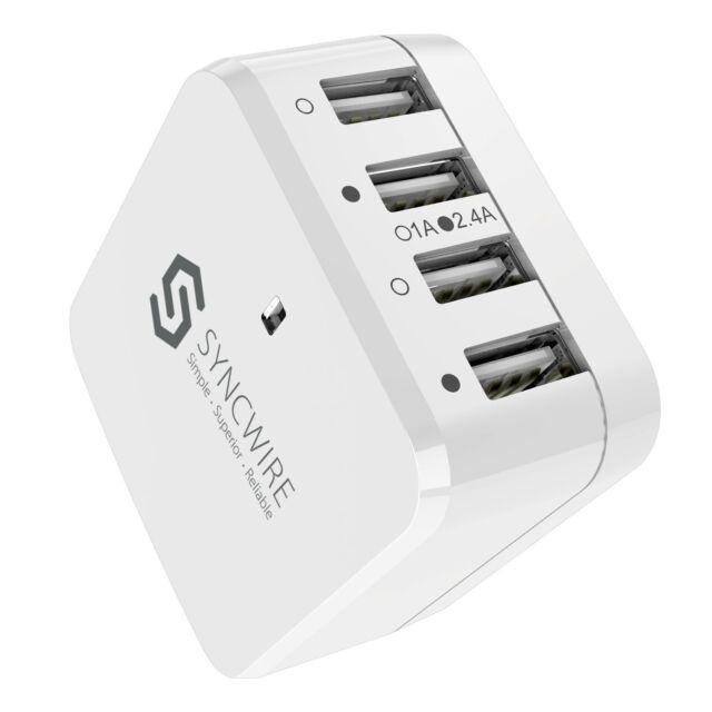 USB Plug 4-Port USB Wall Charger with UK EU US Travel Adaptor for iPhone Samsung