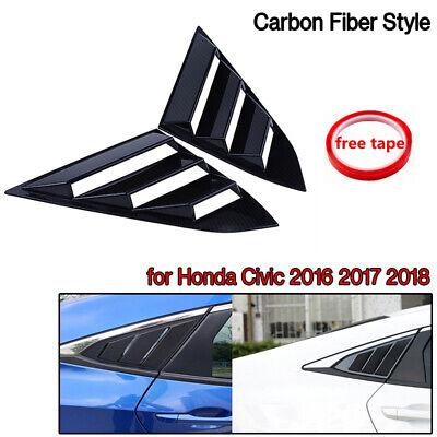2x Quarter Window Louver Cover For Honda Civic 2016 17 18 Side Vent Carbon Fiber